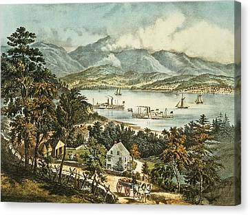 The Catskill Mountains From The Eastern Shore Of The Hudson Canvas Print by Currier and Ives