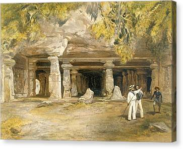 The Cave Of Elephanta, From India Canvas Print by William 'Crimea' Simpson
