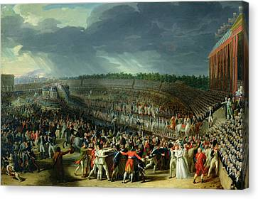 The Celebration Of The Federation, Champs De Mars, Paris, 14 July 1790 Oil On Canvas Canvas Print by Charles Thevenin
