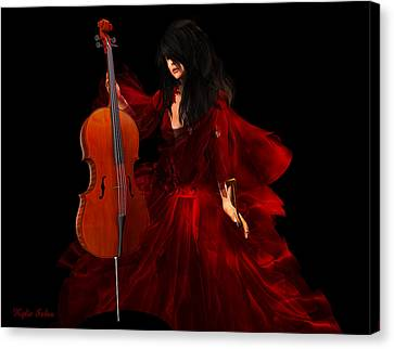 The Cellist Canvas Print by Kylie Sabra