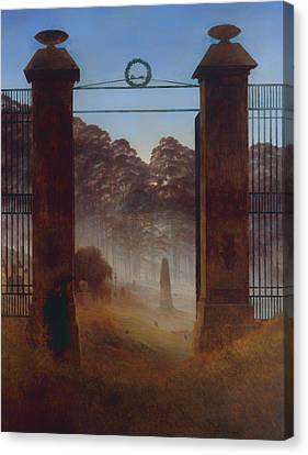 Headstones Canvas Print - The Cemetery by Mountain Dreams