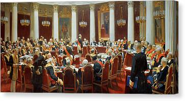 The Ceremonial Sitting Of The State Council 7th May 1901 Canvas Print by Ilya Efimovich Repin