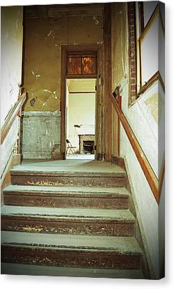 The Chair At The Top Of The Stairs Canvas Print by Holly Blunkall