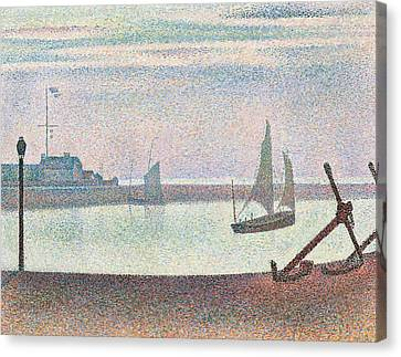 The Channel At Gravelines In The Evening Canvas Print by Georges Seurat