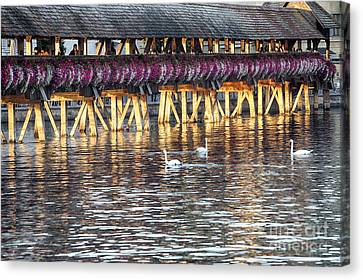 The Chapel Bridge In Late Afternoon Light Canvas Print by George Oze