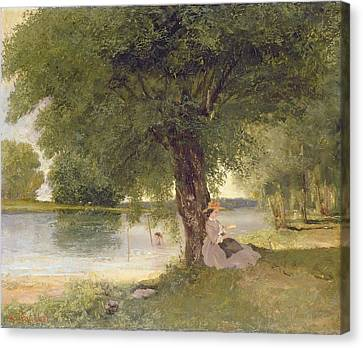 The Charente At Port Bertaud Canvas Print by Gustave Courbet