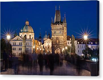 The Charles Bridge At Night - Prague Canvas Print by Barry O Carroll