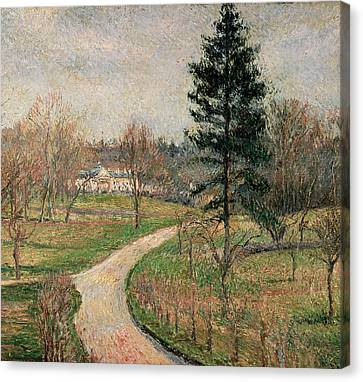 Chateau Canvas Print - The Chateau At Busagny by Camille Pissarro