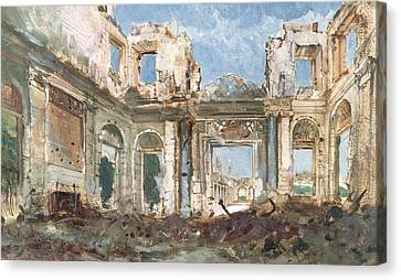 The Chateau De Saint-cloud After The Fire  Canvas Print by Pierre Tetar van Elven