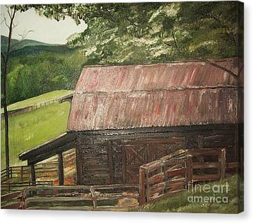 Canvas Print featuring the painting The Cherrys Barn by Jan Dappen
