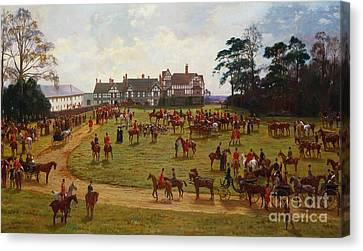 The Cheshire Hunt    The Meet At Calveley Hall  Canvas Print by George Goodwin Kilburne