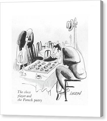 The Chess Player And The French Pastry Canvas Print
