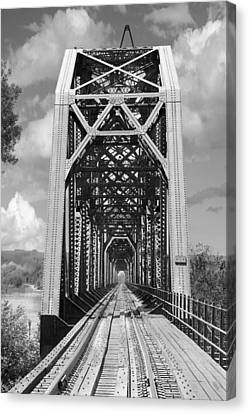 Railroad Bridge Canvas Print - The Chicago And North Western Railroad Bridge by Mike McGlothlen