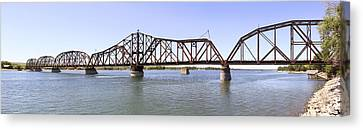 Railroad Bridge Canvas Print - The Chicago And North Western Railroad Bridge Panoramic by Mike McGlothlen