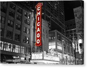 Canvas Print featuring the photograph The Chicago Theatre by Jerome Lynch