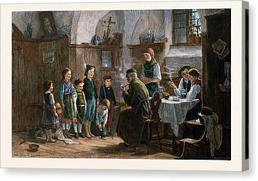 The Children And The Uncle, 1842-1908 Canvas Print by Austrian School