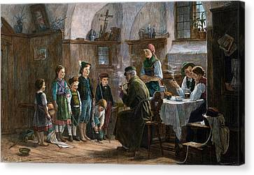 The Children And The Uncle. Studied In Vienna And Munich Canvas Print by Austrian School