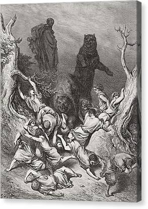 The Children Destroyed By Bears Canvas Print by Gustave Dore