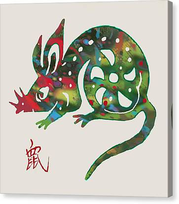 The Chinese Lunar Year 12 Animal - Rat Mouse  Pop Stylised Paper Cut Art Poster Canvas Print by Kim Wang