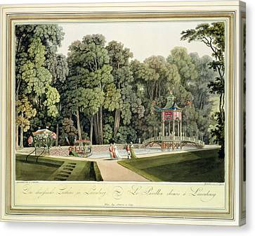 The Chinese Pavilion In The Laxenburg Canvas Print by Laurenz Janscha