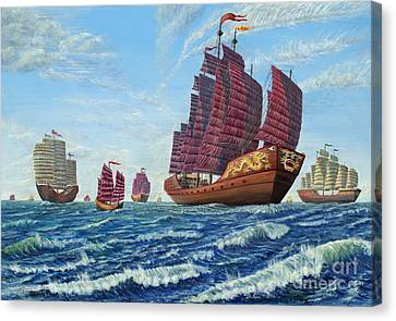 The Chinese Treasure Fleet Sets Sail Canvas Print by Anthony Lyon