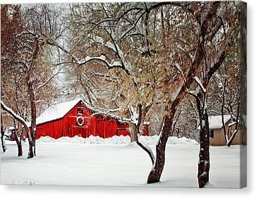 The Christmas Barn Canvas Print by Teri Virbickis