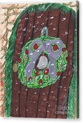 The Christmas Door Wreathe Canvas Print