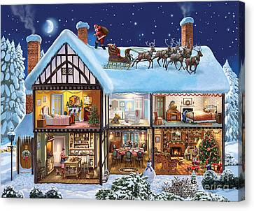 Snowy Night Night Canvas Print - Christmas House by Steve Crisp