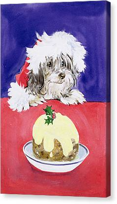 Doggy Cards Canvas Print - The Christmas Pudding by Diane Matthes