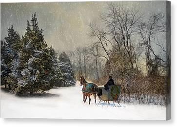 The Christmas Sleigh Canvas Print by Robin-Lee Vieira