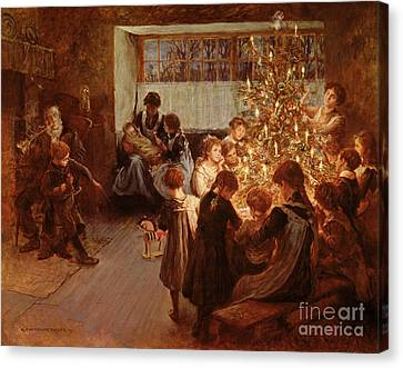 The Christmas Tree Canvas Print by Albert Chevallier Tayler