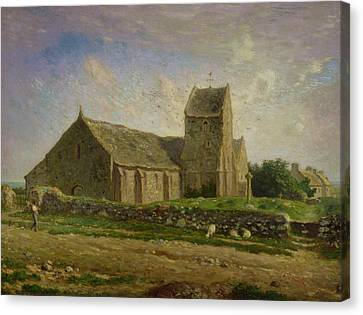 The Church At Greville Canvas Print by Jean-Francois Millet