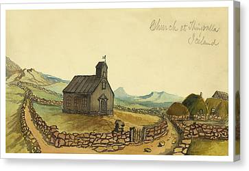 The Church At Thingvalla Iceland Circa 1862 Canvas Print by Aged Pixel
