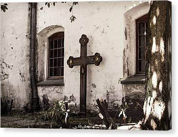 The Church Courtyard Canvas Print by Bill Howard