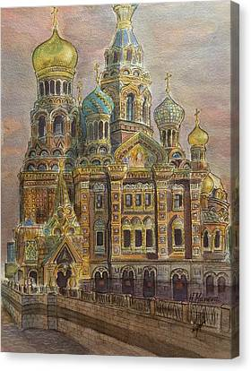 The Church Of Our Savior On The Spilled Blood  St Petersburg Canvas Print by Henrieta Maneva