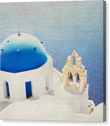 Canvas Print featuring the photograph The Church - Santorini by Lisa Parrish