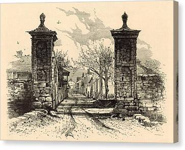 The City Gate - St. Augustine 1872 Engraving By Harry Fenn Canvas Print by Antique Engravings