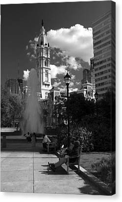 Canvas Print featuring the photograph The City Hall Of Philadelphia In Black And White by Dorin Adrian Berbier