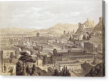 The City Of Ephesus From Mount Coressus Canvas Print by Edward Falkener