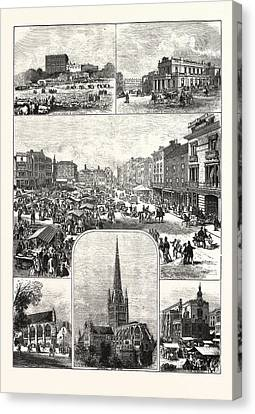 1876 Canvas Print - The City Of Norwich, Engraving 1876, Uk, Britain by English School
