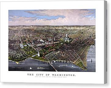 Us Capital Canvas Print - The City Of Washington Birds Eye View by War Is Hell Store