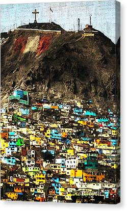 The City On The Hill V2 Canvas Print by Wingsdomain Art and Photography