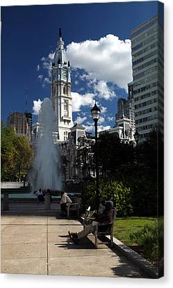 Canvas Print featuring the photograph The Cityhall Of Philadelphia 001 by Dorin Adrian Berbier