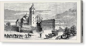 The Civil War In Spain Monastery Of Santa Maria De Yrache Canvas Print by Spanish School