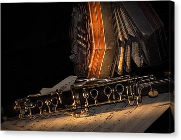 The Clarinet And The Concertina Canvas Print by Ann Garrett
