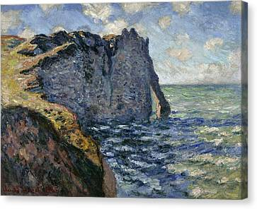 The Cliff Of Aval, Etretat, 1885 Canvas Print by Claude Monet