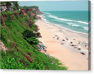 The Cliffs At Varkala Beach Overlooking Canvas Print