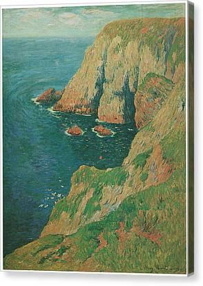The Cliffs Of Stang Ile De Croix Canvas Print by Henry Moret