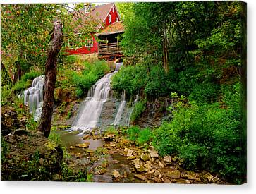 The Clifton Mill And Waterfall- Clifton Ohio Canvas Print by Gregory Ballos