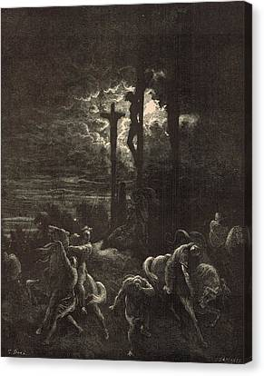 The Close Of The Crucifixion Canvas Print by Antique Engravings
